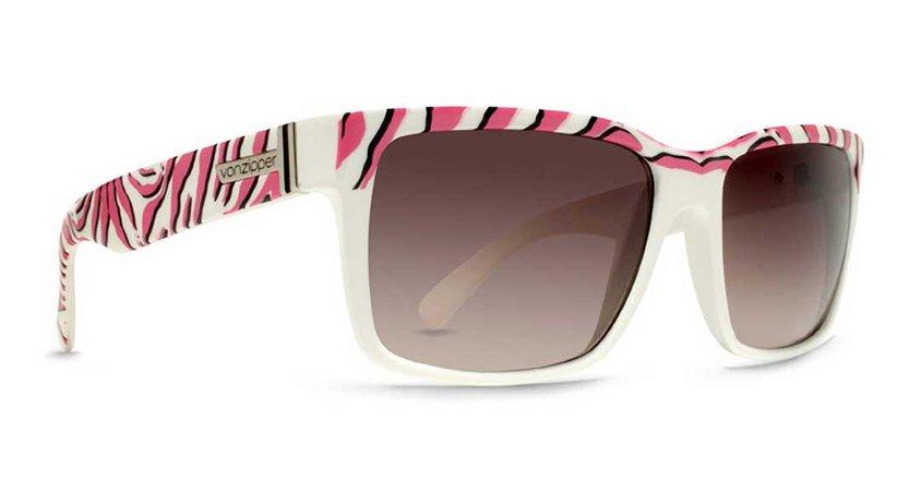 Von Zipper Elmore Sunglasses - White-Pink Zebra / Gradient - SMRFAELM-WPZ
