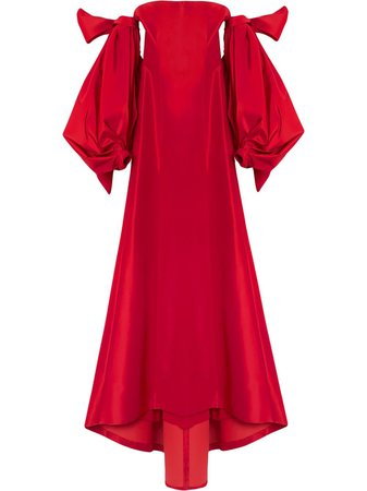 Shop red Carolina Herrera drape-detail silk dress with Express Delivery - Farfetch