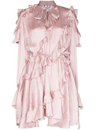 Off-White ruffled draped mini dress