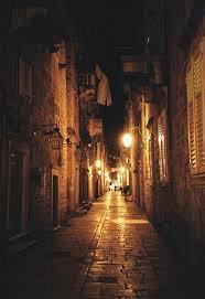 italian old village streets at night
