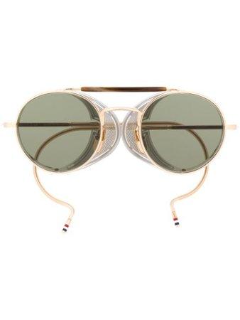 Thom Browne Eyewear Round Frame Sunglasses TBS001 Gold | Farfetch