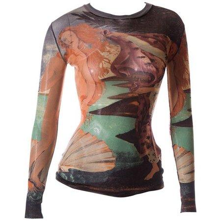 Jean Paul Gaultier Sheer Botticelli 'Birth of Venus' Print Top