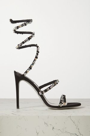 Cleo Crystal-embellished Satin Sandals - Black