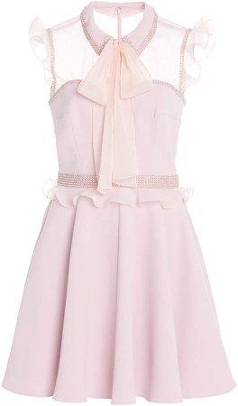 Jenny Packham Cheri Crystal-Embellished Ruffled Crepe Mini Dress