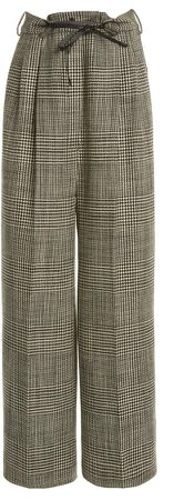 Tom Ford Checked Wide-Leg Wool Pants