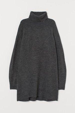 Long Turtleneck Sweater - Dark gray melange - Ladies | H&M US