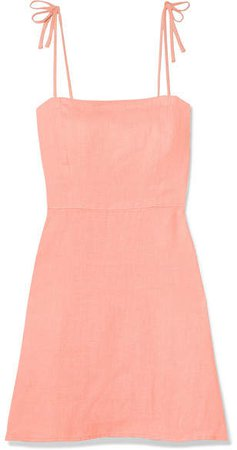 Honorine - Poppy Linen Mini Dress - Coral
