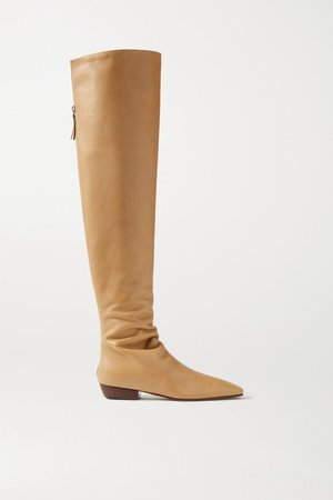 Leather Knee Boots - Beige