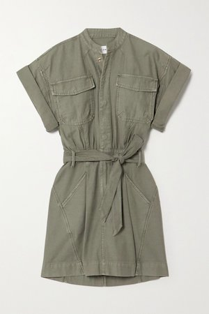 Army green Belted washed-cotton mini shirt dress | FRAME | NET-A-PORTER