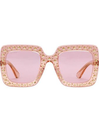 Gucci Eyewear Oversize Square Sunglasses With Crystals - Farfetch