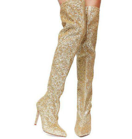 Dolls Kill Glitz N' Glamour Gold Glitter Thigh High Boots – 70s Style Clothing
