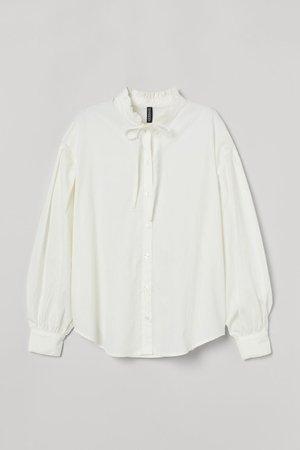 Wide-cut Cotton Blouse - Cream - Ladies | H&M US