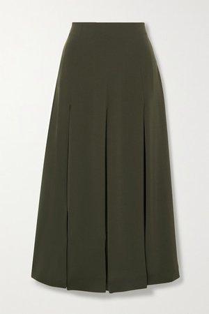 Pleated Crepe Midi Skirt - Dark green