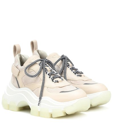 Prada - Block leather sneakers | Mytheresa