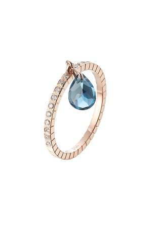 18kt Rose Gold Ring with White Diamonds and Blue Topaz Gr. 6