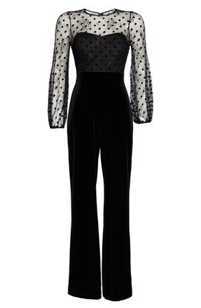 Eliza J Flocked Dot Mesh & Velvet Long Sleeve Jumpsuit   Nordstrom