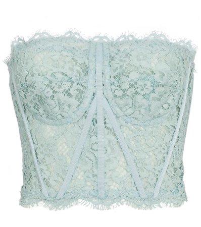 DOLCE & GABBANA Floral-lace cotton-blend bustier