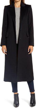 Notch Collar Long Wool Coat