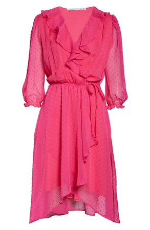 Fraiche by J Ruffle Clip Dot Chiffon Faux Wrap Dress