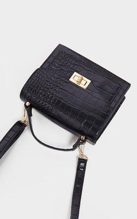 Black Croc Cross Body Bag | Accessories | PrettyLittleThing