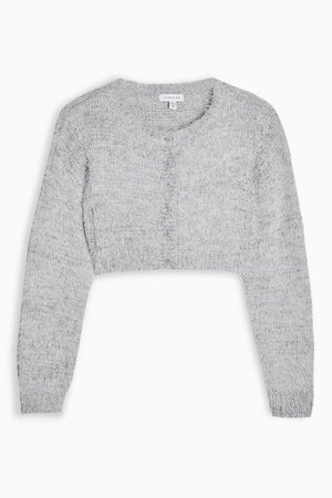 Grey Marl Fluffy Cardigan | Topshop