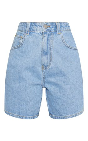 Petite Light Wash Mom Denim Shorts | Petite | PrettyLittleThing
