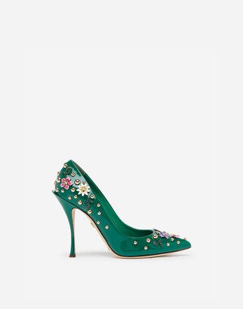Patent Leather Pumps With Embroidery