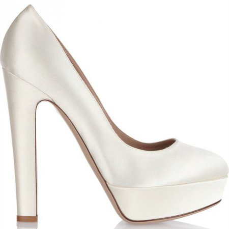 White Satin Chunky Heel Pumps Round Toe Platform Wedding Heels for Date, Wedding, Big day | FSJ