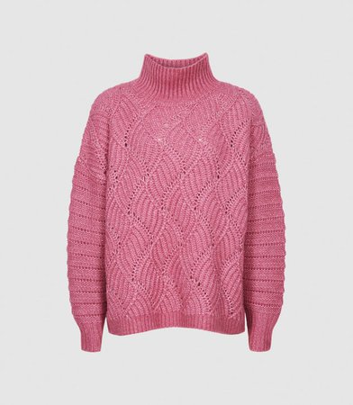 Ola Pink Oversized Cable Knit Jumper – REISS