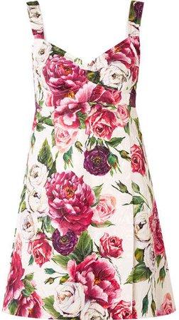 Floral-print Cotton-blend Cloqué Mini Dress - Pink