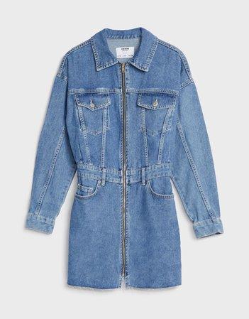 Zipped denim dress - New - Bershka United States