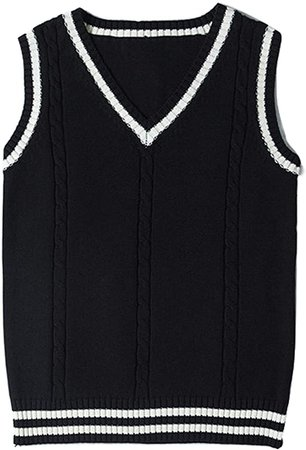 Gihuo Women's V Neck Sweater Vest Uniform Cable Knit Sleeveless Sweater at Amazon Women's Clothing store