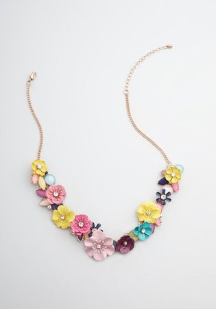 In My Natural Element Statement Necklace Gold/Multi Floral | ModCloth