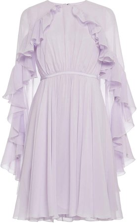 Cape-Effect Ruffled Silk-Chiffon Dress