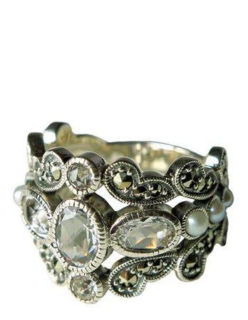ALEXANDRIA'S SECRET MARCASITE & PEARL RING - Estate Ring