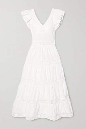 Lea Crochet-trimmed Ruffled Broderie Anglaise Cotton Maxi Dress - White