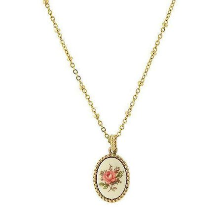 1928 Jewelry Gold Tone Ivory Color with Floral Decal Oval Pendant Necklace