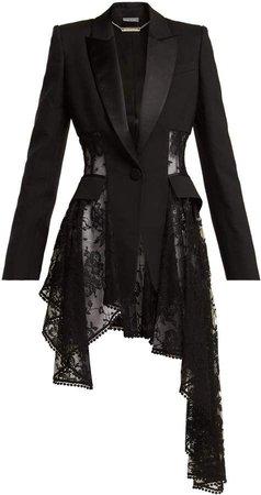 ALEXANDER MCQUEEN Single-breasted lace-panel wool-blend blazer