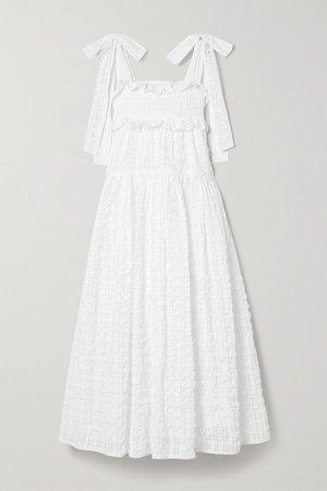 White Mika ruffled seersucker midi dress | Cecilie Bahnsen | NET-A-PORTER