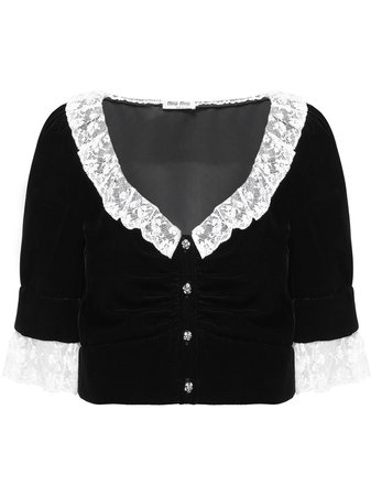 Miu Miu Blouse Crop à Empiècements En Dentelle - Farfetch