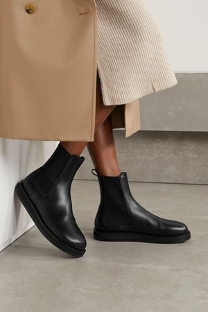 Black Leather Chelsea boots | The Row | NET-A-PORTER