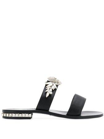 Philipp Plein Embellished Sandals WSA0212PLE096N Black | Farfetch