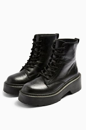 AUSTIN Black Leather Lace Up Boots | Topshop