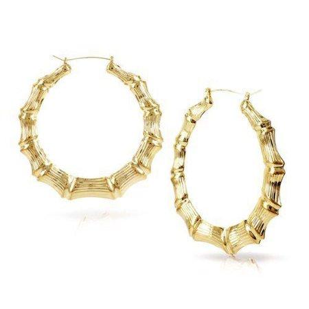 Large Bamboo Earrings Hip-Hop Gold Ladies Hoop Bling Circle 9cm | eBay