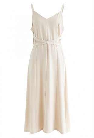 Split Shift Adjustable Cami Dress in Cream - DRESS - Retro, Indie and Unique Fashion