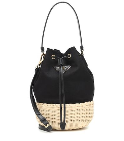 Canvas and wicker bucket bag