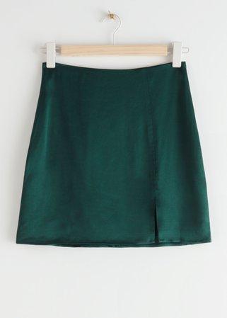 Front Slit Mini Skirt - Dark Green - Mini skirts - & Other Stories