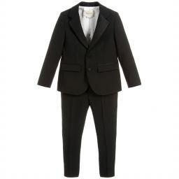 Gucci - Black Wool Blend Tuxedo Suit | Childrensalon