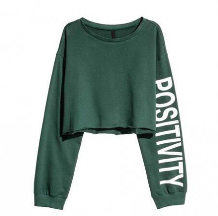 Positivity Long Sleeve Crop Top
