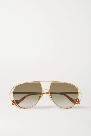 Gold Aviator-style gold-tone and tortoiseshell acetate sunglasses | Loewe | NET-A-PORTER